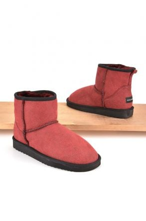 Cool Moon Women Boots From Genuine Sheepskin Fur 980078 Red