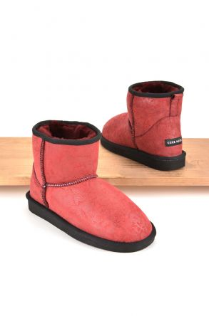 Cool Moon Women Boots From Genuine Sheepskin Fur 980224 Red