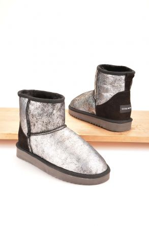 Cool Moon Women Boots From Genuine Sheepskin Fur 980283 Silver