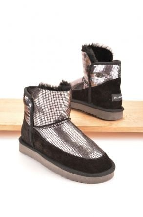 Cool Moon Women Boots From Genuine Sheepskin Fur 980332 Silver