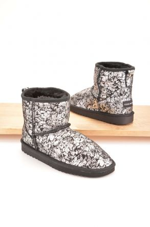 Cool Moon Women Boots From Genuine Sheepskin Fur 980338 Silver