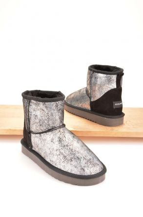 Cool Moon Women Boots From Genuine Sheepskin Fur 980341 Silver