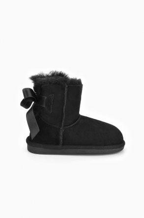 Pegia Kids Boots From Genuine Suede And Sheepskin Fur With Bow Black