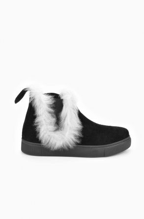 Pegia Women Boots From Genuine Sheepskin With Eraser Black