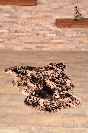Erdogan Deri Decorative Sheepskin Rug Decorated With Pattern Natural