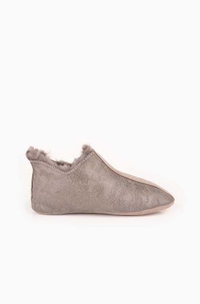 Pegia Kids House Shoes From Genuine Sheepksin Fur Gray