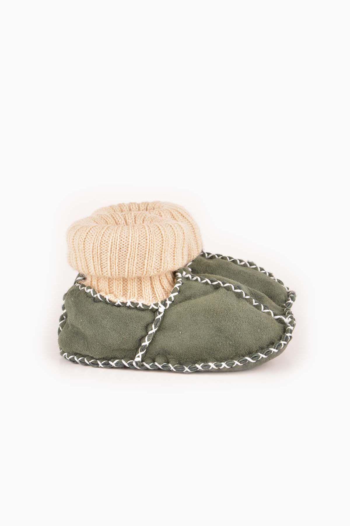 Pegia Hakiki Kürklü Çoraplı Bebek Patiği 141006 Yeşil