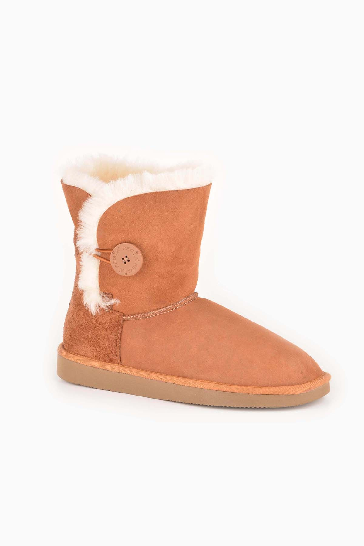 Pegia Women Boots From Genuine Suede And Sheepskin Fur Decorated With Snap Ginger