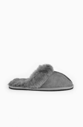 Pegia Women House Slippers From Genuine Suede And Sheepskin Gray