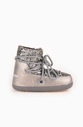 Cool Moon Women Snowboots From Genuine Fur With Sequins 251004 Gray