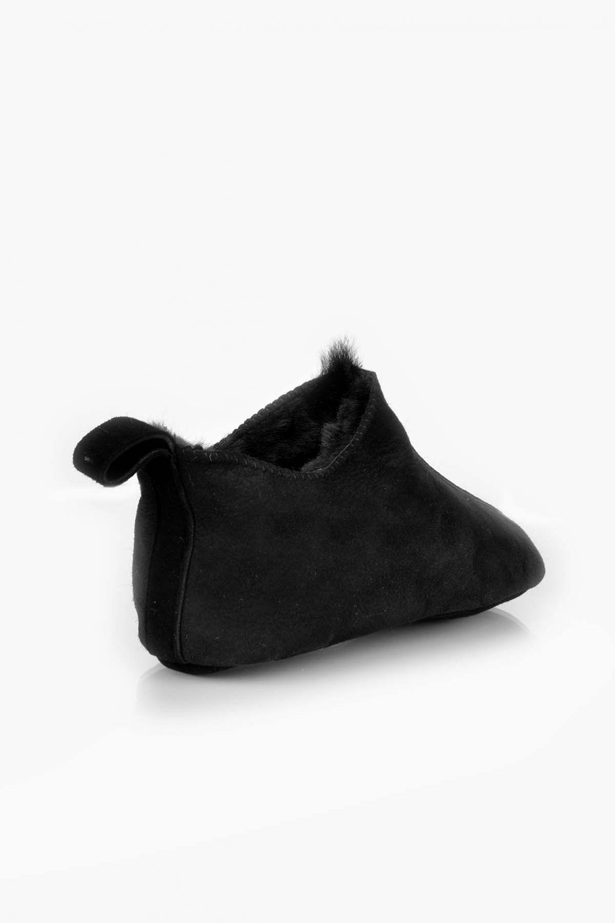 Pegia Hakiki Kürklü Çocuk Ev Ayakkabısı 121297 Siyah