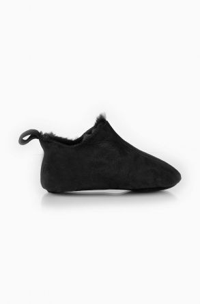 Pegia Kids House Shoes From Genuine Sheepksin Fur Black