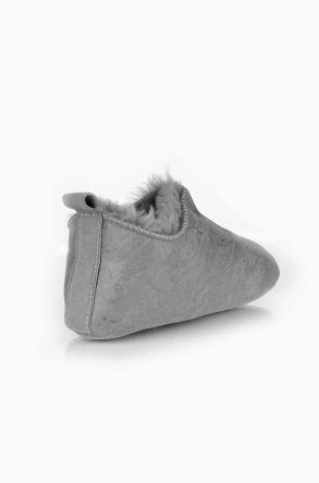 Pegia Kids House Shoes From Genuine Sheepksin Fur Light Gray