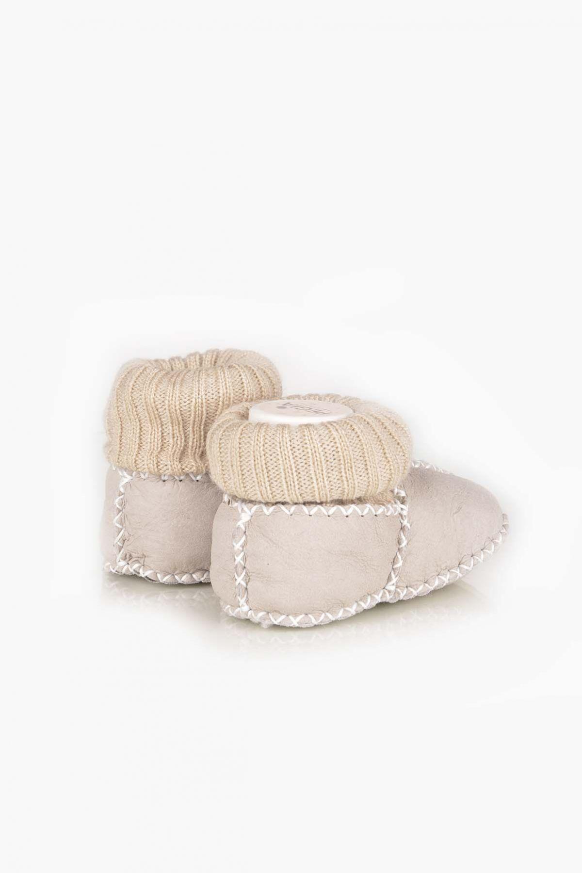Pegia Hakiki Kürklü Çoraplı Bebek Patiği 141006 Açık Bej