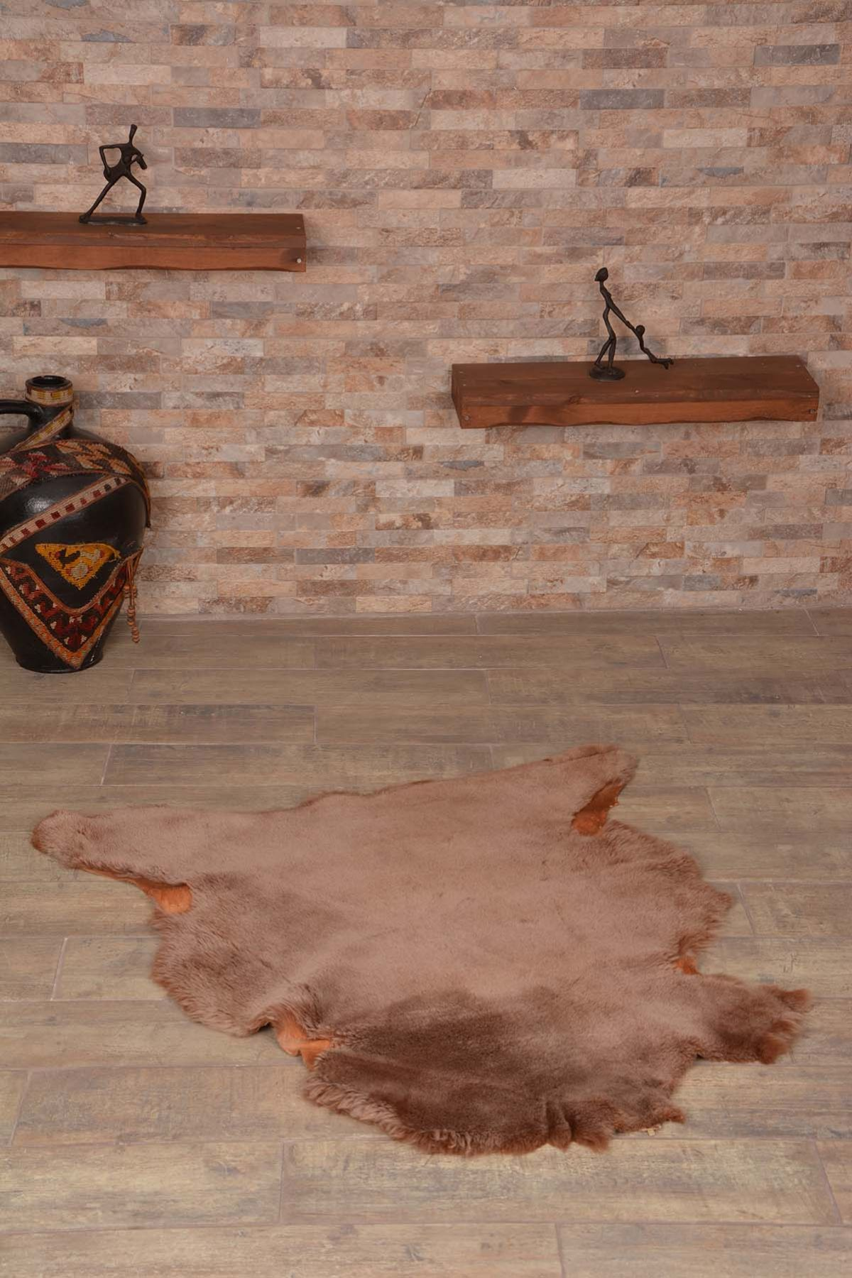 Erdogan Deri Decorative Sheepskin Rug Brown