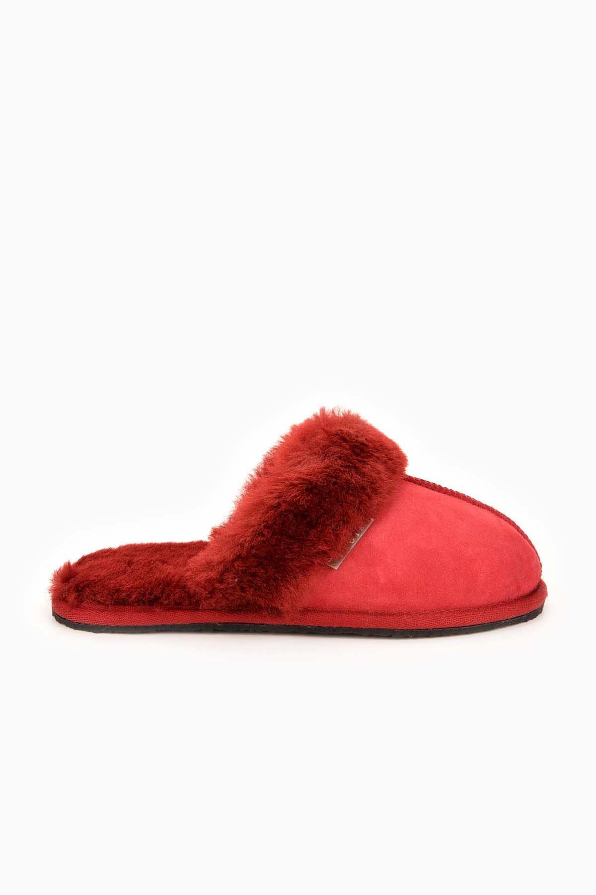 Pegia Women House Slippers From Genuine Suede And Sheepskin Claret red