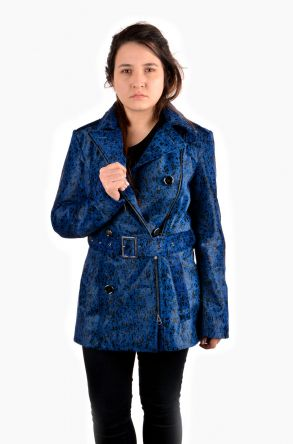 Pegia Women Leather Jacket Blue