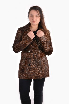 Pegia Women Leather Jacket Brown