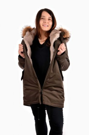 Pegia Women Jacket From Genuine Fur With Detachable Vest Beige
