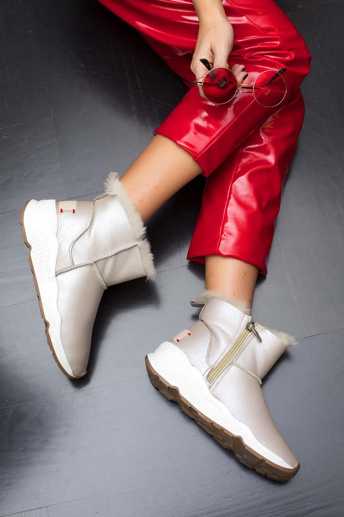 Женские Ботинки Из Натурального Меха С Боковой Молнией 157401 Бежевый