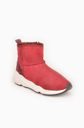 Pegia Classic Sport Women Boots From Genuine Suede And Sheepskin 195001 Claret red