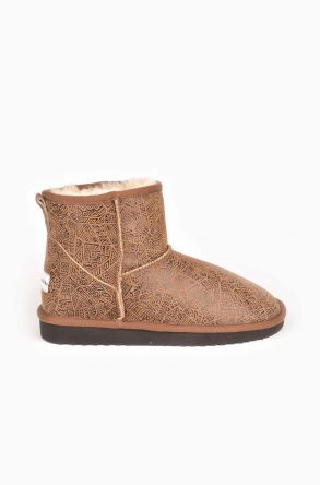 Cool Moon Patterned Women Boots From Genuine Leather And Sheepskin Fur Sand-colored