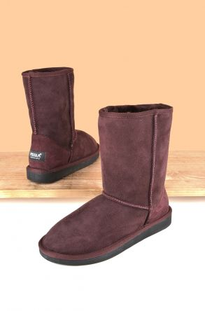 Pegia Classic Women Boots From Genuine Suede And Sheepskin Fur Claret red