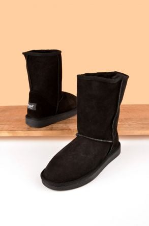 Pegia Classic Women Boots From Genuine Suede And Sheepskin Fur Black