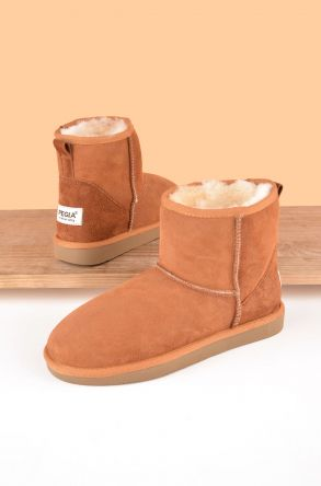 Pegia Short Women Boots From Genuine Suede And Sheepskin Fur 191021 Ginger