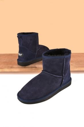 Pegia Short Women Boots From Genuine Suede And Sheepskin Fur 191021 Navy blue