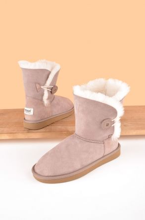 Pegia Women Boots From Genuine Suede And Sheepskin Fur Decorated With Snap Powdery