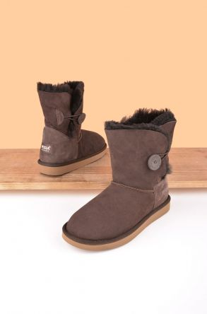 Pegia Women Boots From Genuine Suede And Sheepskin Fur Decorated With Snap Brown