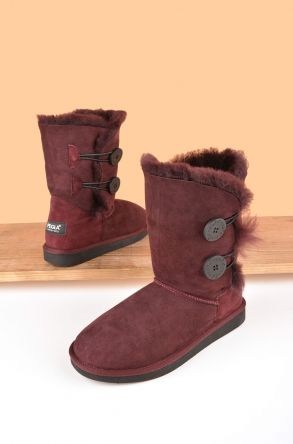 Pegia Women Boots From Genuine Suede And Sheepskin Fur Decorated With Snaps Claret red