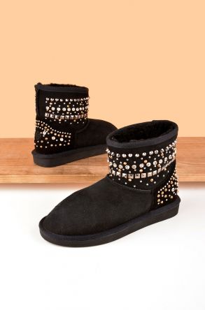 Ds Women Boots From Genuine Suede And Sheepskin Fur Decorated With Stones D191071 Black