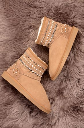 Ds Women Boots From Genuine Suede And Sheepskin Fur Decorated With Stones D191071 Sand-colored