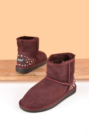 Pegia Women Boots From Genuine Suede And Sheepskin Fur Decorated With Stones 191072 Claret red
