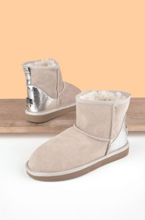 Pegia Women Boots From Genuine Suede And Sheepskin Fur Decorated With Leather 191074 Beige 36