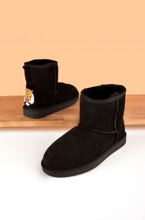 Pegia Women Boots From Genuine Suede And Sheepskin Fur Decorated With Tiger Insertion 191079 Black