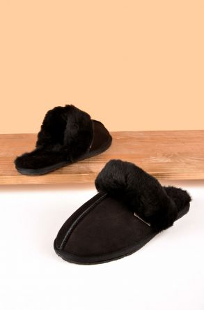 Pegia Women House Slippers From Genuine Suede And Sheepskin Black