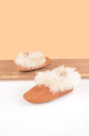 Pegia Women House Shoes From Genuine Suede And Sheepskin Fur Ginger