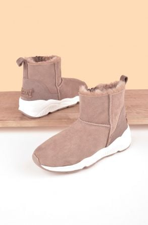Pegia Classic Sport Women Boots From Genuine Suede And Sheepskin 195001 Visone