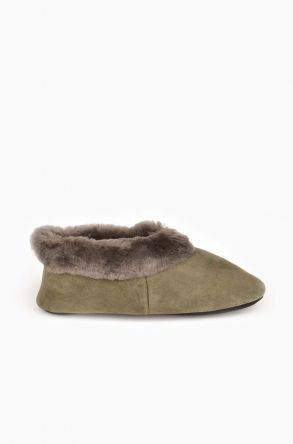 Pegia Women House Shoes From Genuine Sheepskin Fur Khaki