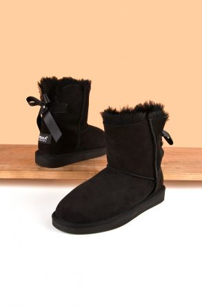 Pegia Women Boots From Genuine Suede And Sheepskin Fur Decorated With Bow Black