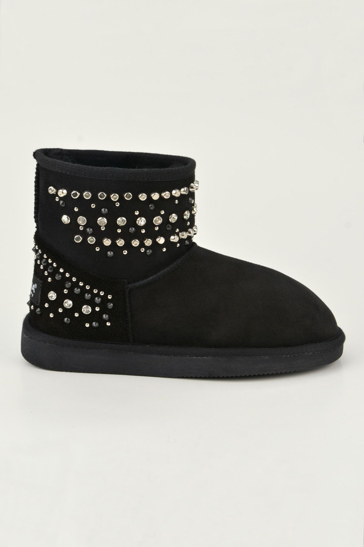 Pegia Women Boots From Genuine Suede And Sheepskin Fur Decorated With Stones 191071 Black