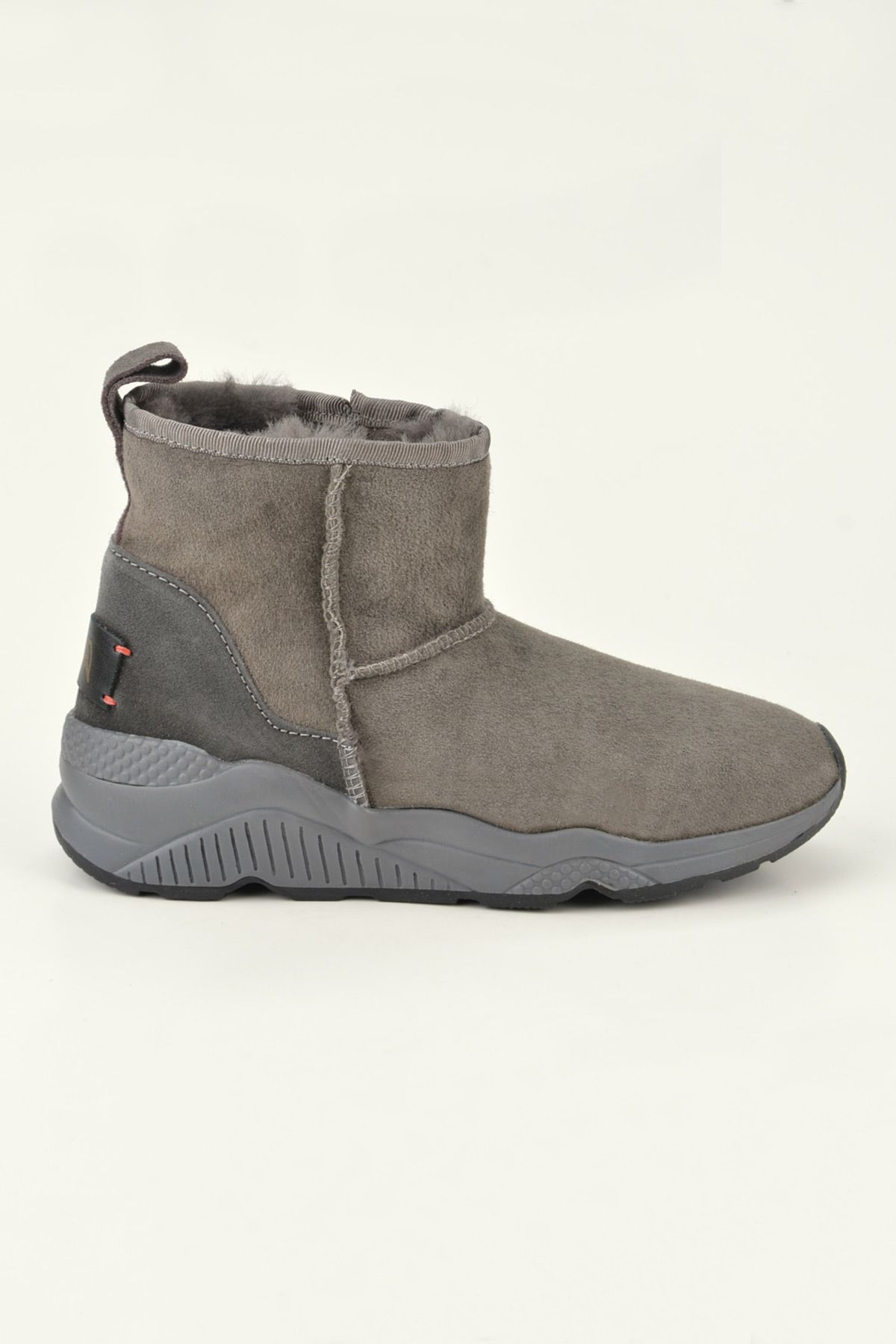Pegia Women Boots From Genuine Fur With Side Zip 157401 Gray