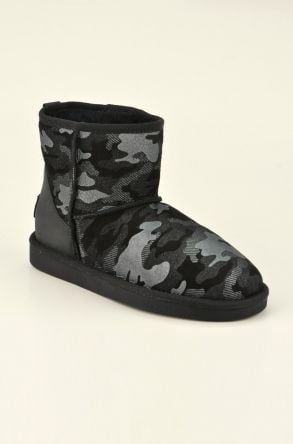 Pegia Short Women Boots From Genuine Sheepskin Fur With Camouflage Pattern 191024 Black