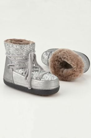 Cool Moon Women Snowboots From Genuine Fur With Sequins 251004 Silver