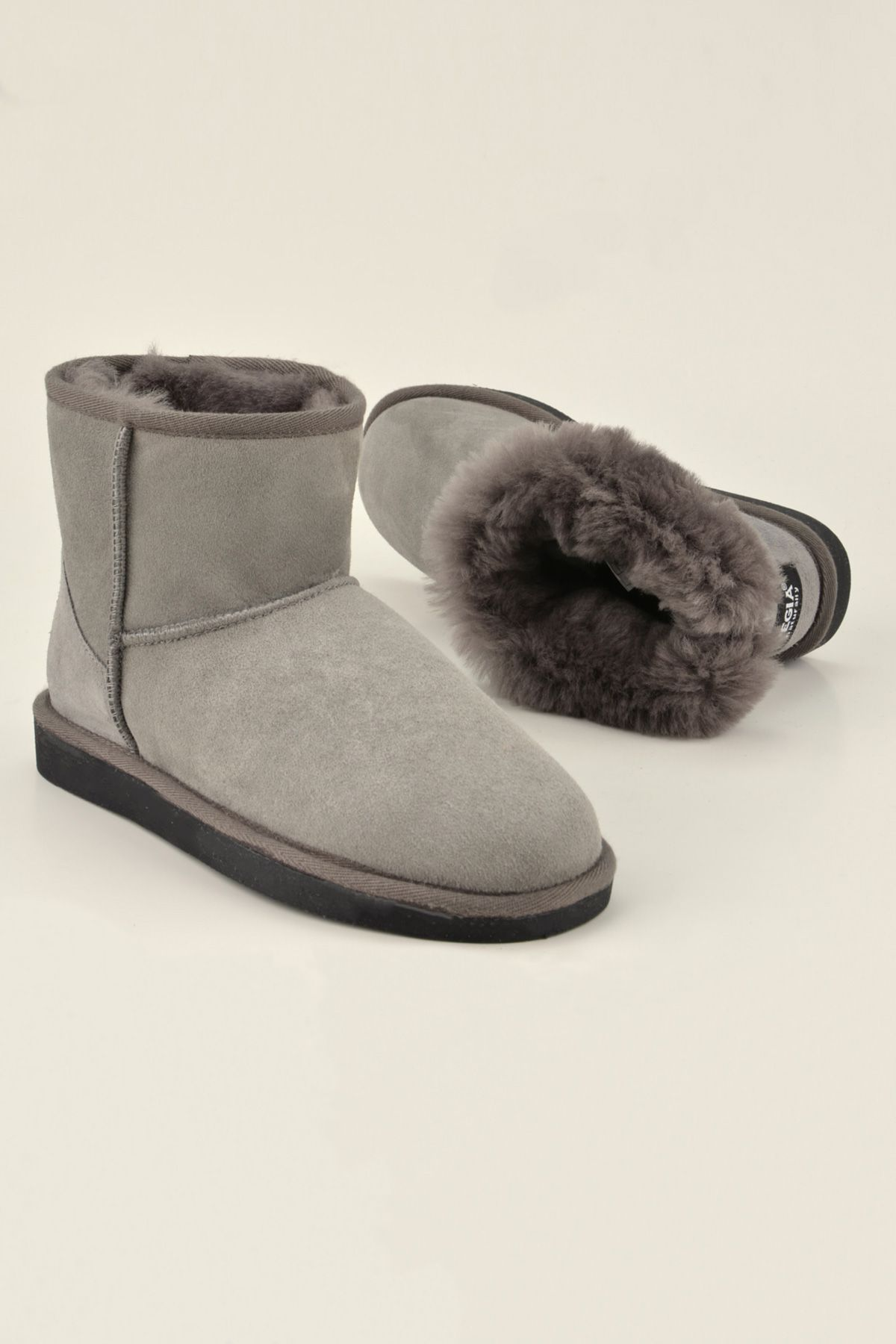 Pegia Short Women Boots From Genuine Suede And Sheepskin Fur 191021 Gray