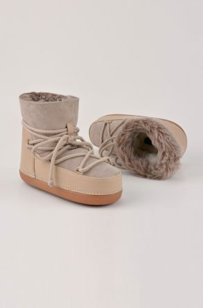 BYMN Women Moonboots From Leather And Sheepskin Fur B351001 Beige