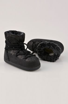 BYMN Scaly Women Moonboots From Genuine Nubuck And Sheepskin Fur B351004 Black